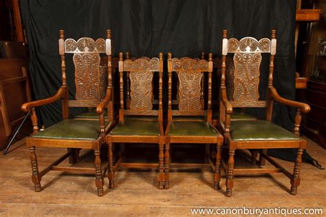set 8 antique william and carved dining chairs oak