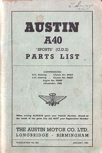 Austin A40 Sports Parts List