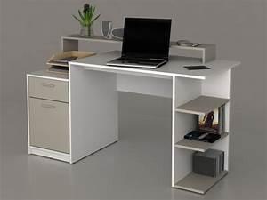 Bureau Avec Rangement : bureau zacharie ii 1 tiroir 1 porte blanc taupe ~ Teatrodelosmanantiales.com Idées de Décoration