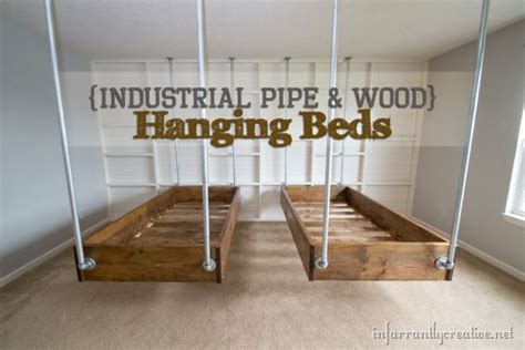 industrial wood  pipe hanging beds infarrantly creative