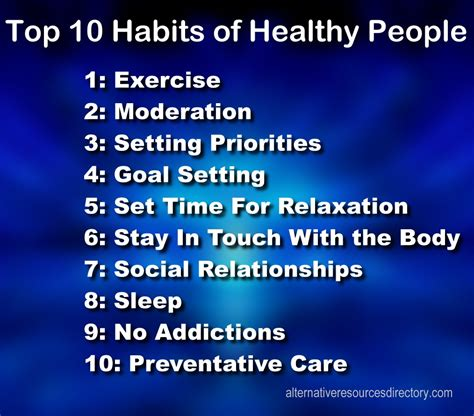 Top 10 Habits Of Healthy People  Alternative Resources Directory