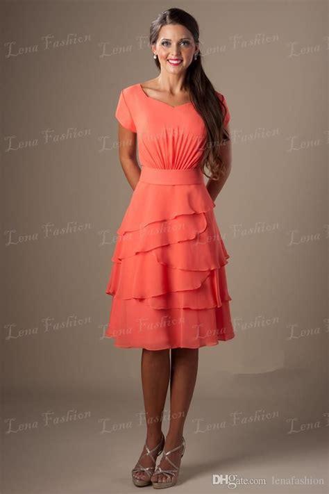 coral color dresses coral colored a line knee length chiffon brides dress