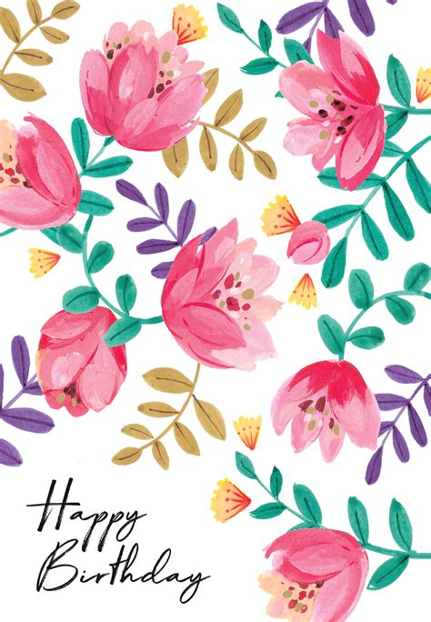 gouache floral  birthday card  island