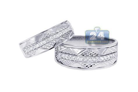 Diamond Wedding Bands Set For Him Her 18k White Gold 0.33 Ct