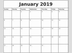 January 2019 Printable Monthly Calendar