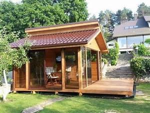 sommerhaus gartenhaus gartenlaube gartensauna in With französischer balkon mit blockhaus für den garten