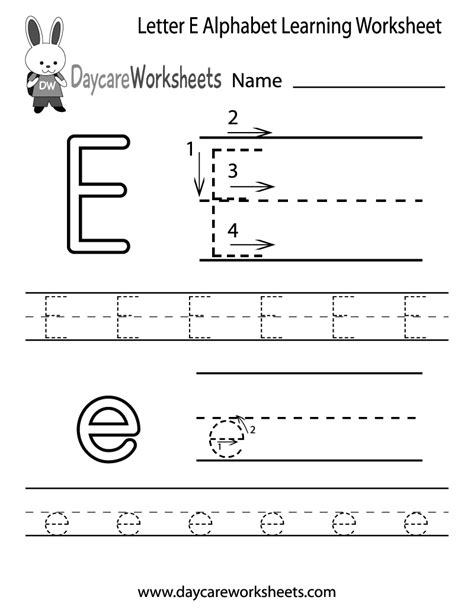 free letter e alphabet learning worksheet for preschool