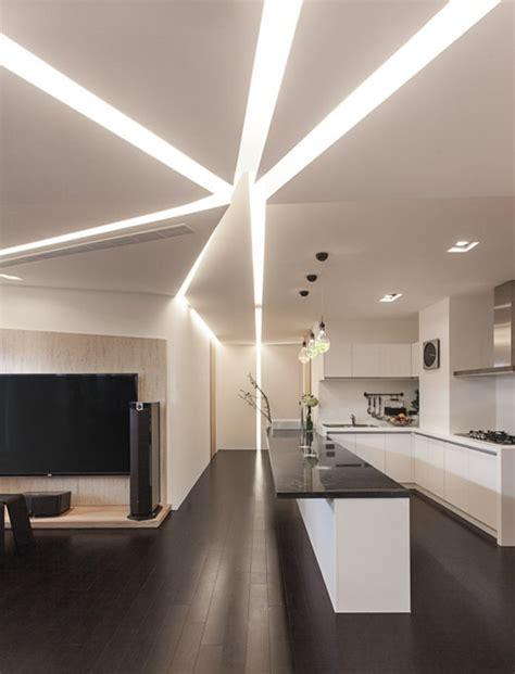 faux plafond design cuisine maison stylée contemporaine à l 39 aide de plafond moderne archzine fr