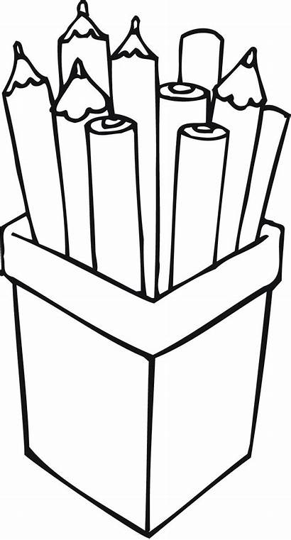 Pencil Clipart Box Outline Pencils Coloring Pages