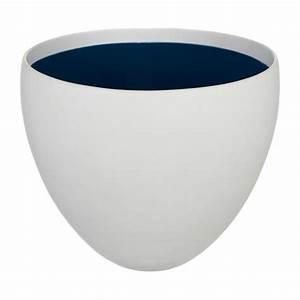 Cache Pot Interieur : lauriane cache pot en gr s blanc int rieur bleu taille l ~ Premium-room.com Idées de Décoration