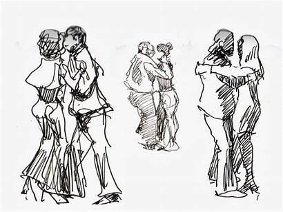 Dancing Couple Sketching Tango Drawing Urban York