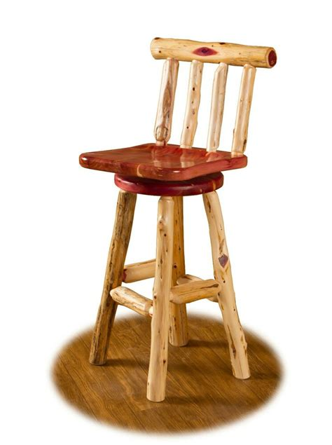 Log Stool - rustic cedar log swivel bar counter stool with 24