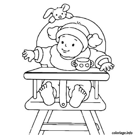 chaise haute hello coloriage bebe dans sa chaise haute jecolorie com