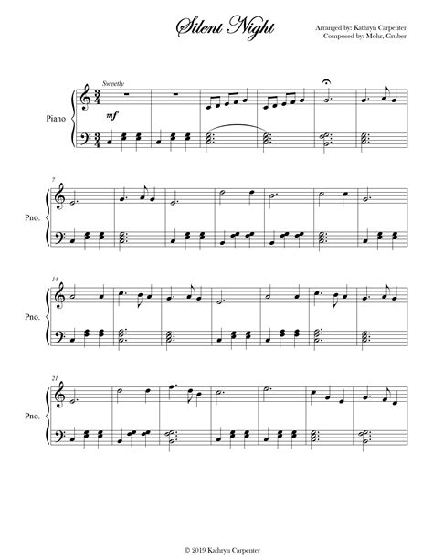 Here are several different levels of downloadable piano solo sheet music for silent night. silent night is a very popular christmas carol written by franz xaver gruber. Idea by Kathryn Carpenter Sheet Music on Sheet Music & Arrangements! in 2020 | Easy piano ...