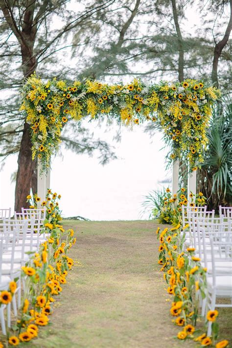 Yellow Wedding Ceremony Backdrop And Aisle Decor With