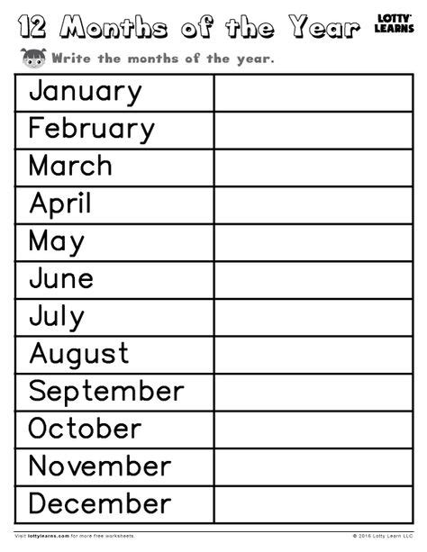 worksheets lotty learns  images months   year