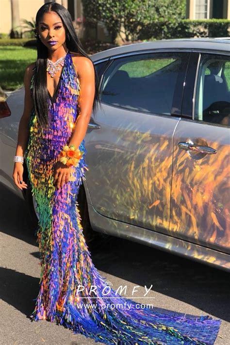 shiny rainbow paillette sequin  neck mermaid fashion long prom dress promfy