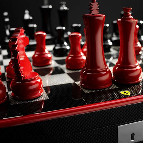 ferrari carbon fiber chess set lets  checkmate