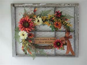 Chippy, Paint, Window, Frame, With, Chicken, Wire, And, Wreath, By, Joan, Larson, Of, Garland, On, The, Gate