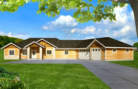 northwest ranch  finished  level gh architectural designs house plans