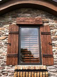 wood exterior shutters Our shutters are available in a variety of wood species - Pecky Cypress (in… | Outdoor Ideas ...