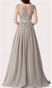 grey cap sleeve a line floor length elegant lace and