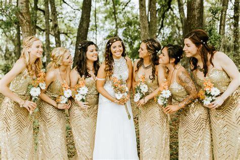 gold bridesmaid dresses wedding ideas 100