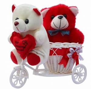 CTW Love Couple Teddy Basket cycle Valentine Showpiece ...