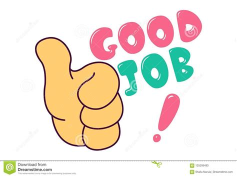 Vector Cartoon Illustration Of Thumbs Up And Good Job Text