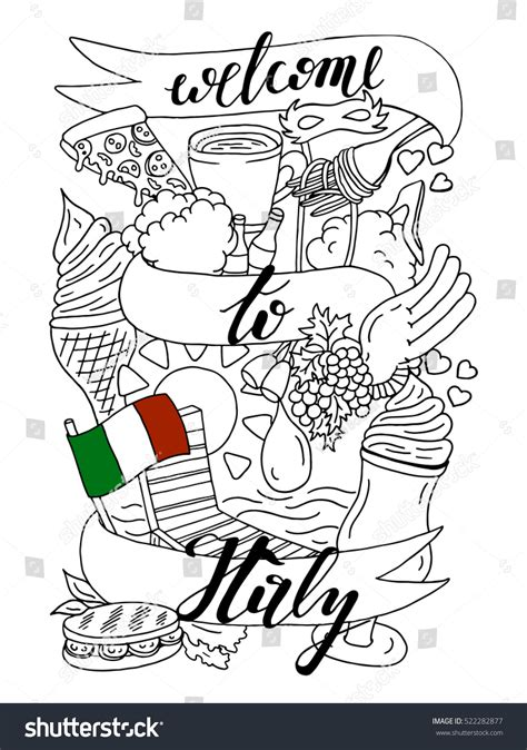 cuisine design italien welcome italy doodle design coloring stock vector