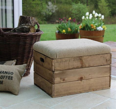 Padded Footstool With Storage by Upholstered Footstool Storage Crate Seat By The Comfi