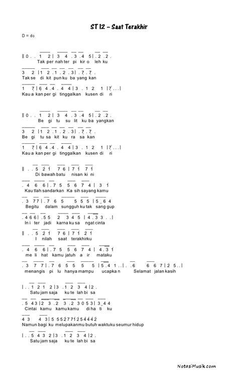 not angka lagu doraemon not angka saat terakhir st12
