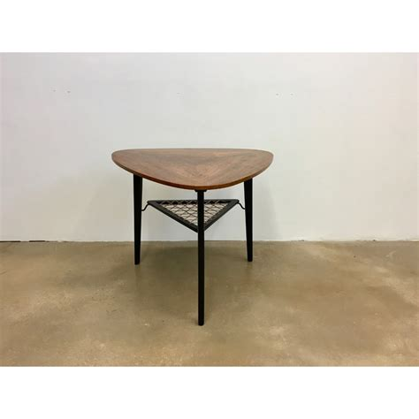 table basse triangulaire vintage en palissandre avec support 1950 design market
