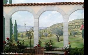 fresque murale decor peint et trompe l39oeil peinture With jardin autour d une piscine 15 fresque murale decor peint et trompe loeil peinture