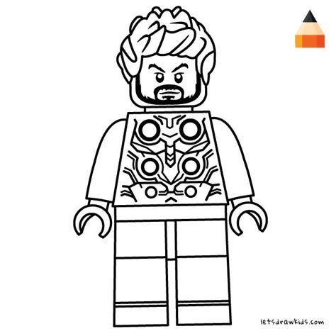 coloring page  kids thor lego drawing coloring