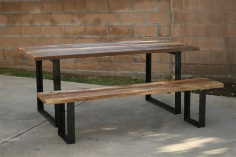 wood bench metal legs  woodworking