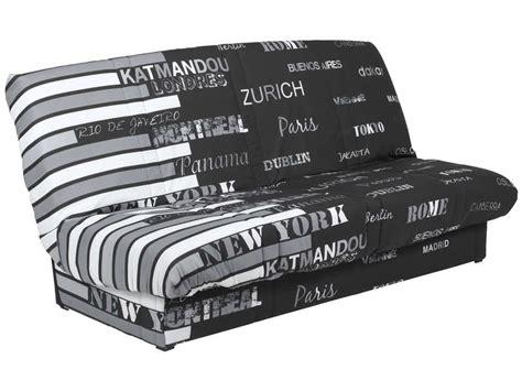 conforama canapé clic clac banquette clic clac en tissu coloris noir blanc