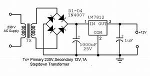 Simple 12v Fixed Voltage Power Supply Circuit Diagram