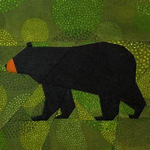 Black Bear paper-piecing quilt pattern, PDF Paper piecing