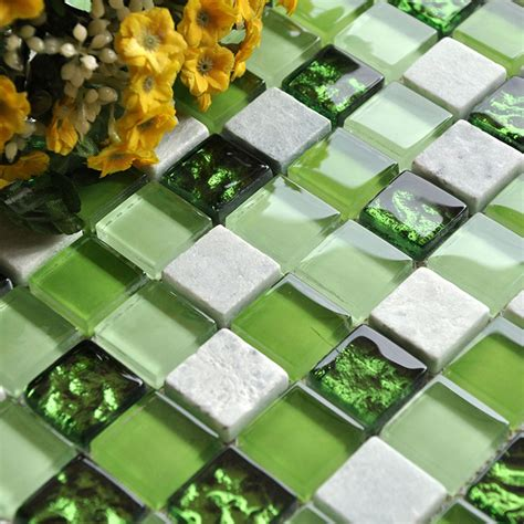 stone  glass mosaic tiles square green bathroom glass