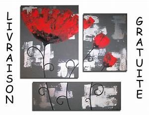 tableau toile triptyque fleur coquelicot rouge gris blanc With toile cirée carreaux rouge et blanc