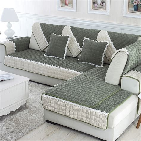 piece  set sofa covers fleeced fabric knit eco