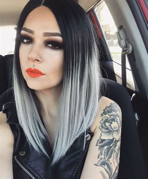 haarfarbe schwarz grau ombre trend mit grauer farbe hair graues ombre haar