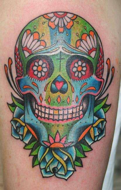 Brainsy Heart Sugar Skull Tattoo