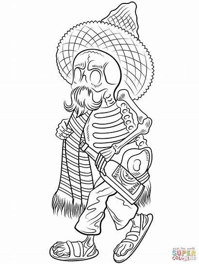 Coloring Dead Pages Sombrero Skeleton Dia Muertos
