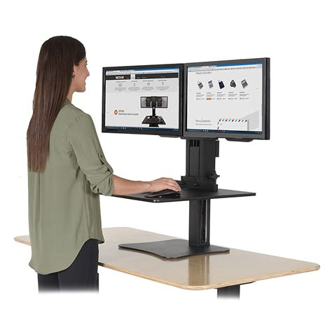 sit stand desk converter victor dc350 high rise dual monitor sit stand desk