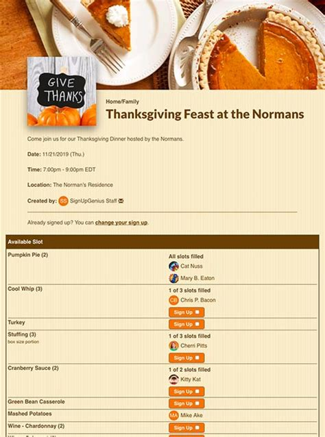 Thanksgiving Sign Ups For Potlucks, Parties, And More