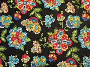 Navajo Native American Beaded Like Floral Colors Black ...