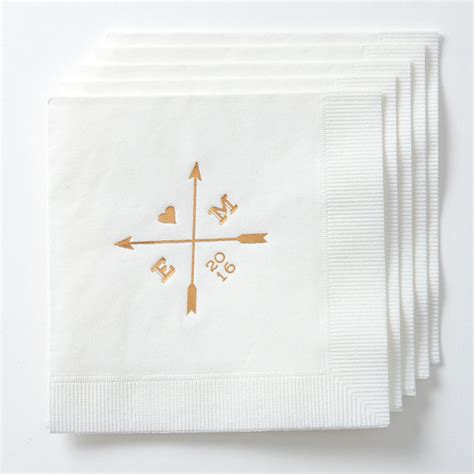 Arrows Personalized Wedding Napkins (set Of 50) Custom