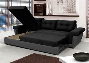 New corner sofa bed with storage black fabric grey for Really comfortable sofa bed